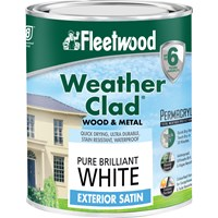 Fleetwood Weather Clad Exterior Satin Brilliant White Paint - 750ml